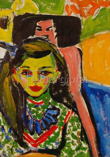 Ernst Ludwig Kirchner: Fränzi vor geschnitztem Stuhl. 1910.