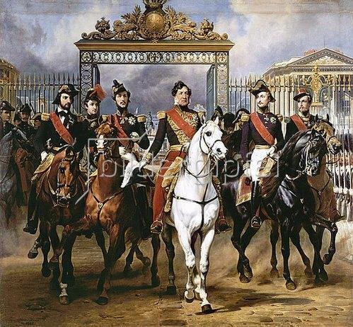 Emile Jean Horace Vernet: Louis Philippe und seine Söhne zu Pferde beim Verlassen von Schloss Versailles.