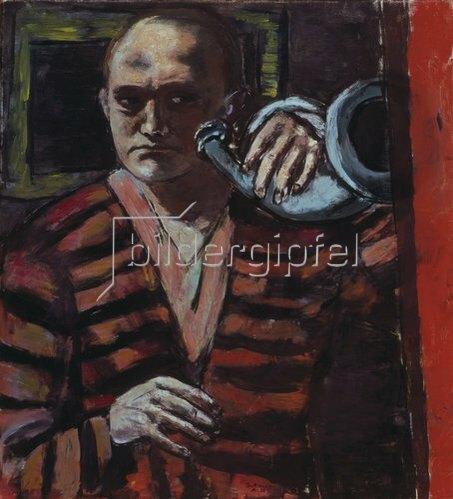 Max Beckmann: Selbstbildnis mit Horn. 1938