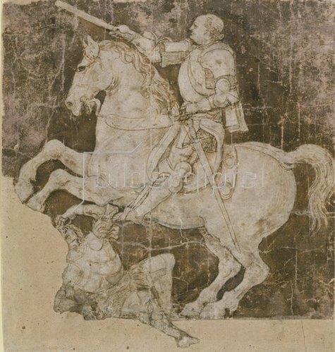 Antonio del Pollaiuolo: Entwurf für Reiterstandbild von Francesco Sforza.