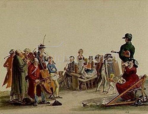 Ferdinand Schießl: Musikanten und Biertischgesellschaft in München um 1809.