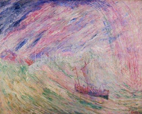 James Ensor: Christus besänftigt den Sturm auf dem Meer. 1891.