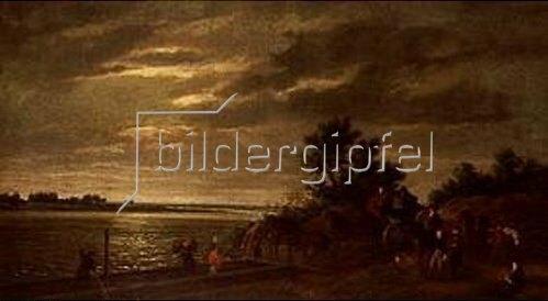 Ramsey Richard Reinagle: Eine Kutsche setzt bei Mondschein über den Fluß Leck in Holland. 1795.