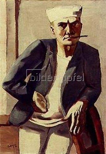 Max Beckmann: Selbstbildnis mit weißer Mütze. 1926