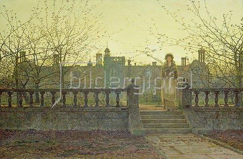 John Atkinson Grimshaw: Lady Bountifulle beim Verlassen eines Altersheimes in abendlicher Herbstsonne. 1884