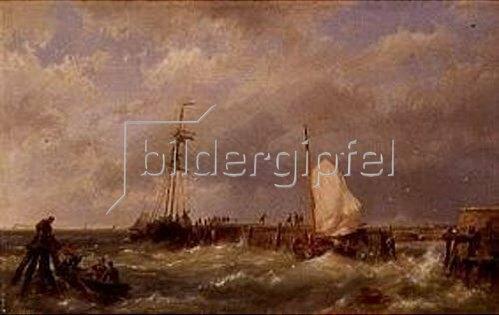 Hermanus Koekkoek: Fischerboote im Sturm an einer Mole.