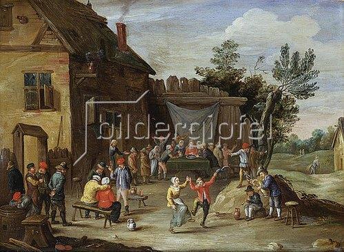 Jan van Kessel: Hochzeitsfest vor einem Dorfgasthaus.