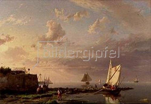 Hermanus Koekkoek: Bei Windstille am Meeresufer. 1862.