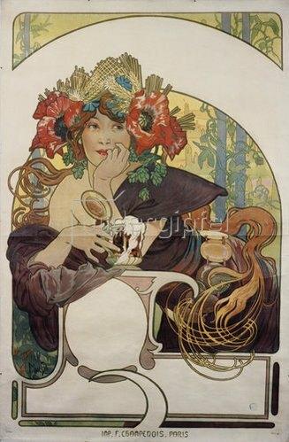 Alfons Mucha: Werbeplakat für 'Bières de la Meuse'. Um 1897