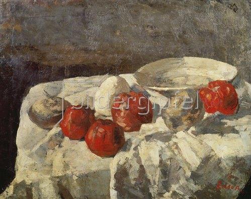 James Ensor: Stilleben mit roten Äpfeln und weißer Schale (Les Pommes rouges). 1883.