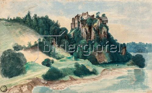 Albrecht Dürer: Felsenschloss, Schloss Segonzano im Cembratal. Herbst 1494.