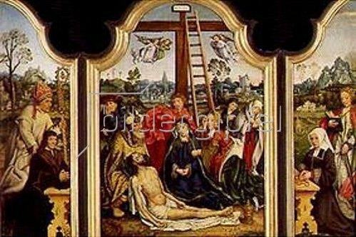Meister von Frankfurt: Altar mit Beweinung Christi, sowie den Hll.Hugo und Katharina und Stiftern.