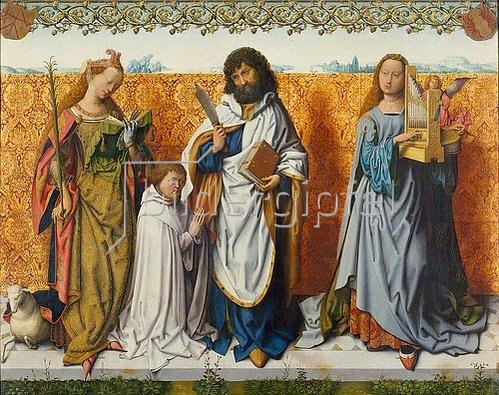 Meister d.Bartholomäus-Altars: Mitteltafel: Die hll.Agnes, Bartholomäus und Cäcilia.