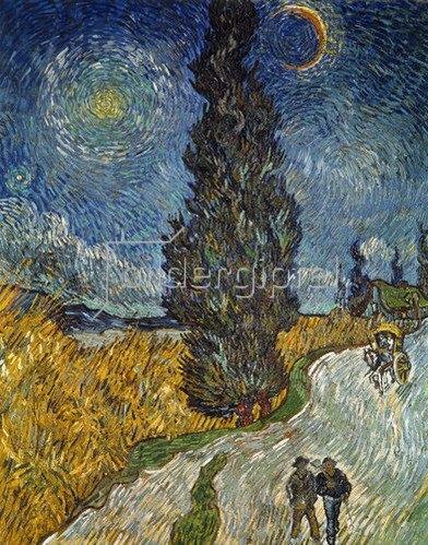 Vincent van Gogh: Landstraße mit Zypresse und Stern. 1890.