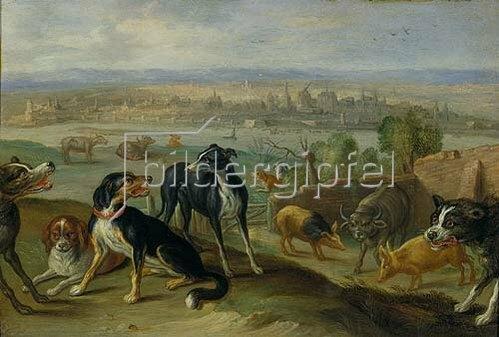 Jan van Kessel: Randbild Köln aus der Tafel Europa (Zyklus 'Die vier Erdteile'). 1664.