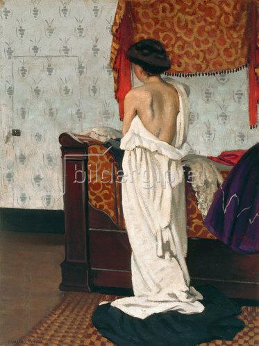 Felix Vallotton: Beim Ankleiden, Rückenakt in einem Interieur. 1902