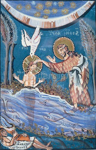 Handschrift: Die Taufe Christi. Aus dem Evangelistar der Äbtissin Hidta von Meschede.