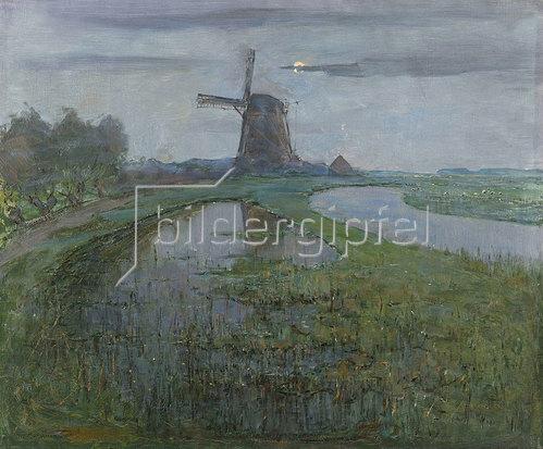 Piet Mondrian: Mühle am Fluss Gein bei Mondlicht. Um 1903