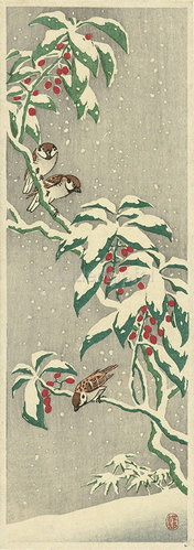 Ohara Shôson: Spatzen auf einem verschneiten Beerenzweig