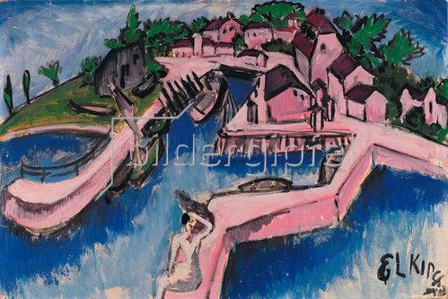 Ernst Ludwig Kirchner: Bootshafen auf Fehmarn. 1913.