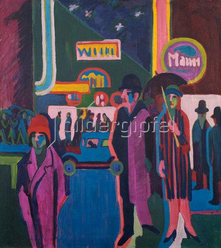 Straßenszene bei Nacht von Ernst Ludwig Kirchner Kunstdruck ...