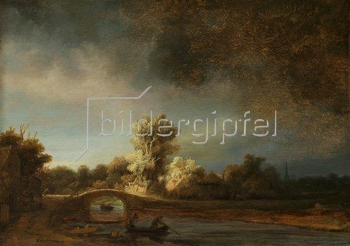 Rembrandt van Rijn: Landschaft mit einer Steinbrücke. Um 1638