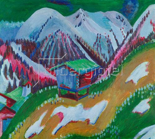 Ernst Ludwig Kirchner: Berglandschaft mit Alphütte. Um 1922