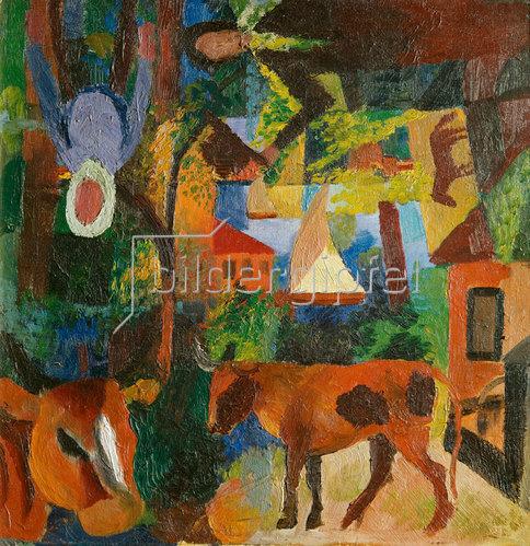 August Macke: Landschaft mit Kühen, Segelboot und Figuren. 1914.