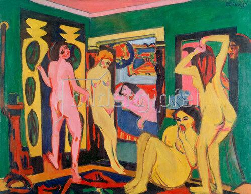 Ernst Ludwig Kirchner: Badende im Raum. 1909/10
