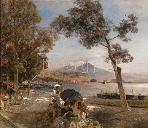 Oswald Achenbach: Abendstimmung am Golf von Neapel. 1888