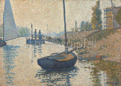 Paul Signac: Ponton de la Félicité bei Asnières (Opus no. 143). 1886