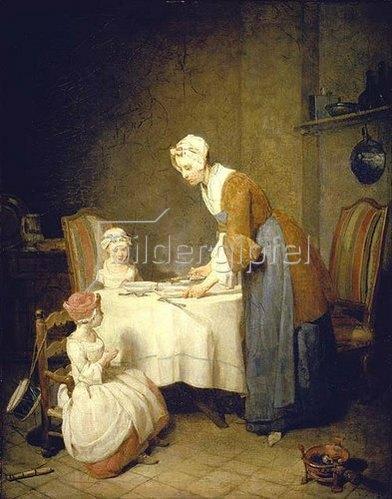 Jean-Baptiste Siméon Chardin: Das Tischgebet (oder: Die fleissige Mutter).