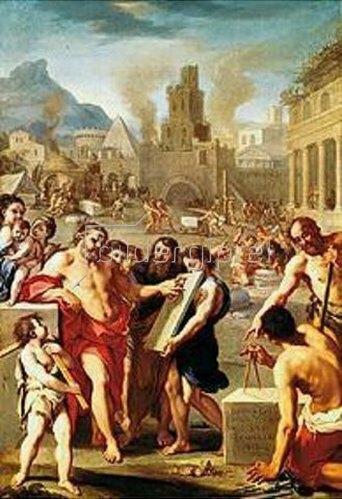 Französischer Maler: Kain gründet eine Stadt, die er nach seinem Sohne Enoch benennt.