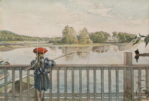 Carl Larsson: Lisbeth beim Angeln. Um 1895