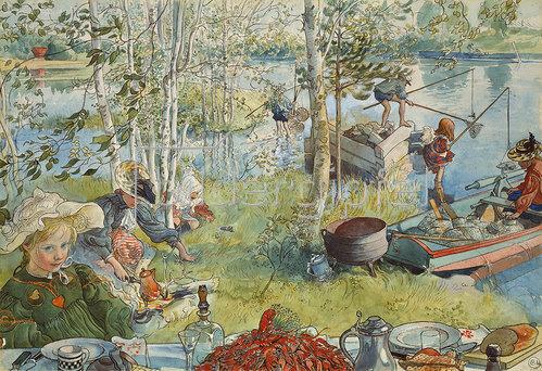 Carl Larsson: Krebsfang. Um 1895