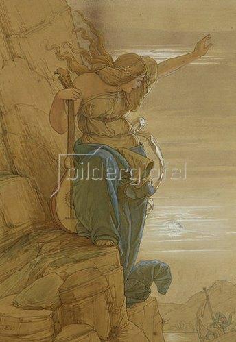 Edward Jakob von Steinle: Loreley (Entwurf zum Gemälde, siehe Bildnummer 331).