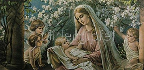 Anonym: Maria unter Kirschblüten mit Jesuskind und Engeln. Um 1900.
