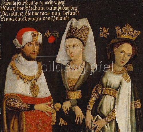 Deutsch: Ludwig II. (Der Strenge) von Bayern, 1229- 1294, mit seinen beiden Frauen Maria von Brabant und Anna von Glogau.