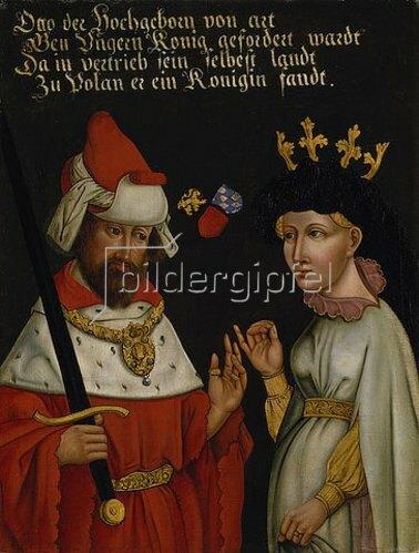 Deutsch: Herzog Otto III. von Niederbayern (Béla V. von Ungarn) mit seiner 2. Frau, Agnes von Glogau.