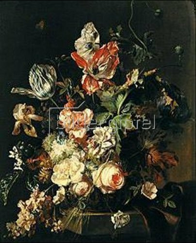 Hermann van der Mijn: Gartenblumen. Lwd., 78 x 64 cm.