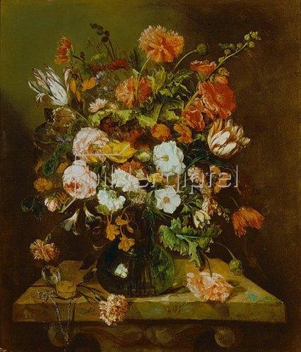 Abraham van Beyeren: Blumenstück mit Uhr. Um 1663-65