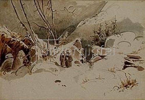 Carl Blechen: Verschneiter Hochpaß mit Mönchen. 1833.