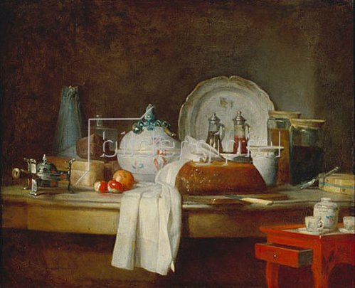 Jean-Baptiste Siméon Chardin: Stilleben mit Küchen-Utensilien.