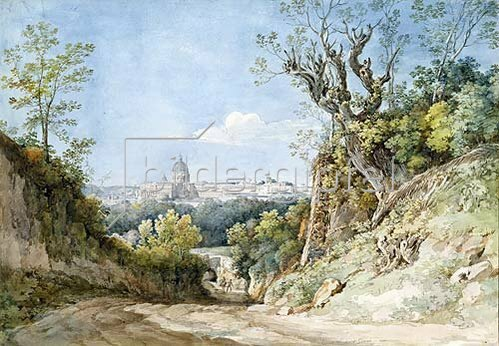 Johann Georg von Dillis: Blick auf St.Peter in Rom beim Arco Scuro. 1818/19.