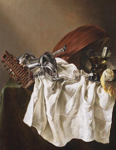 Willem van Odekercken: Stilleben mit Laute, Zinnkrug, Weinglas und Zitrone