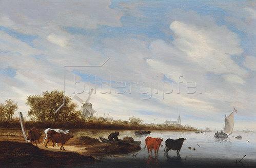 Salomon van Ruydael: Flusslandschaft mit Kühen