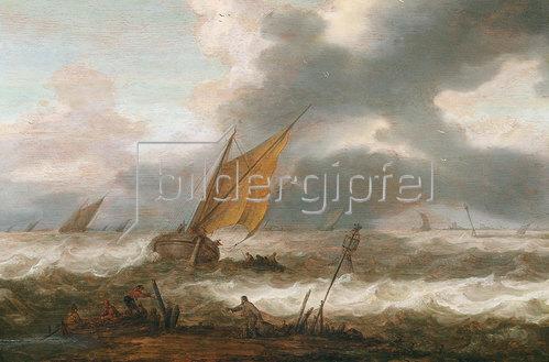 Cornelis Leoardsz Stooter: Schiffe auf bewegter See