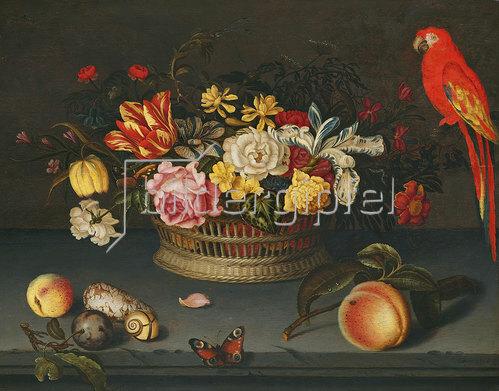 Jeronimus Sweerts: Stillleben mit Blumenkorb und Papagei