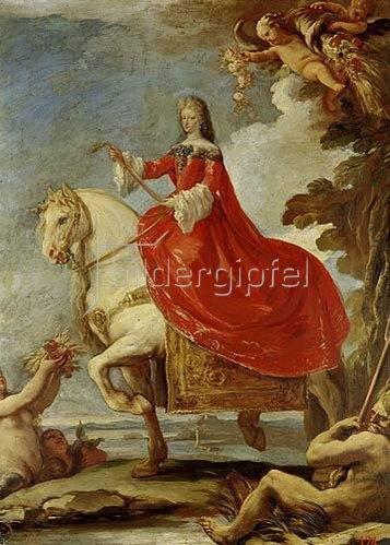Luca (Fa Presto) Giordano: Dona Mariana von Neuburg zu Pferde.