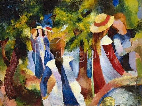 August Macke: Mädchen unter Bäumen. 1914